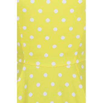 Hjerter og roser kvinders 50 & apos;s Inspireret Cindy Polka Dot Swing Kjole i gult