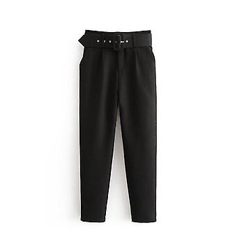 Femme Fashion Sashes Casual Slim Pants Chic Business Trousers