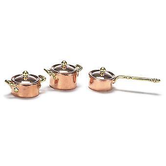 Puppen Haus Miniatur Küche Zubehör Kupfer Gold Saucepan Pan Set