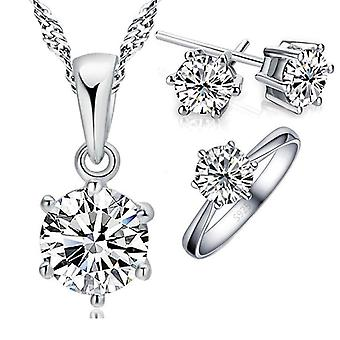 925 Sterling Silver Zircon Crystal Bridal Jewelry Sets