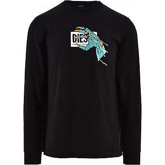 Diesel Black T-Just-A1 T-Shirt, Long Sleeve