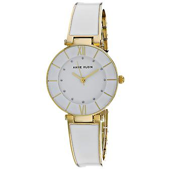 Anne Klein Women's Glitter Accented Enamel Bow White Dial Watch - AK-3510GPST