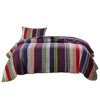 Rhine 2 Piece Textured Twin Size Quilt Set With Fabric Bound Edges, Multicolore