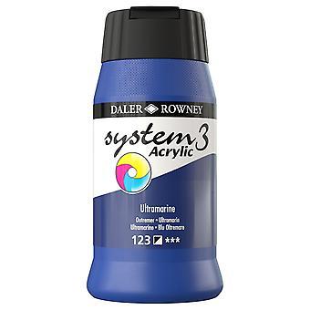 Daler Rowney System 3 Acrylic Paint Ultramarine (500ml)