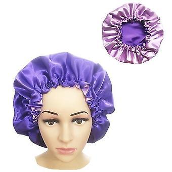 Women Night Sleep Cap, Satin Elastic Bonnet Hat For Hair Care Head Cover
