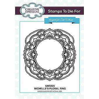 Kreative uttrykk Michelle's Floral Ring Pre Cut Stamp Co-ords med CED4344
