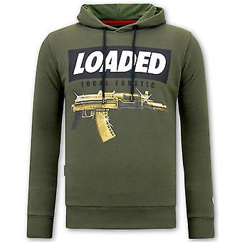 Hoodie Print - Loaded Gun - Green