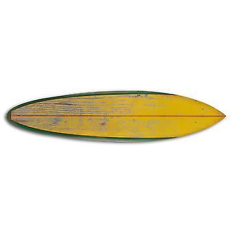 Distressed und rustikale gelbe Surfbrett Holz Panel Wandkunst