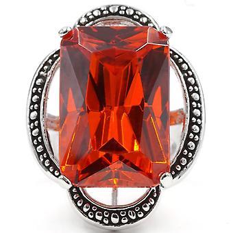 Oversized Rectangular Orange Beaded Scalloped Edge Ring