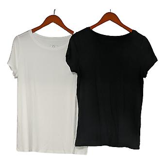 G By Giuliana Women's Top 2-Pack EcoLuxe Jersey Soft Tees Black 729381