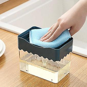 Set di distributori di sapone liquido 2in1 con porta utensili per la pulizia della cucina in spugna