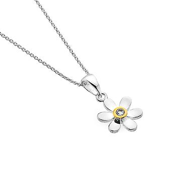Sterling Silver Pendant Necklace - Origins Daisy + Wht Topaz + Gold Plated