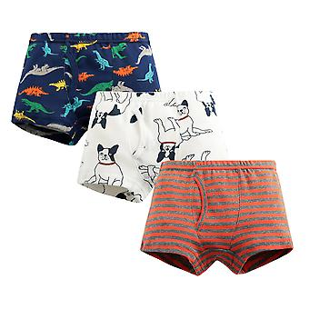 Yunyun Boys Cartoon Dog Dinosaur Stripes Print Three-piece Cotton Poxer Panties