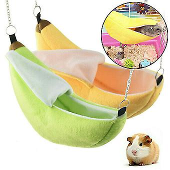 Novelty Banana Shape Nest Plush Cotton Hamster Warm House Hammock Rat Mouse Living House Hanging Tree Beds Hamster Accessories