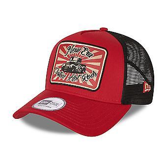 New Era Hot Rod Snapback Trucker Cap ~ Vintage Hot Rod red