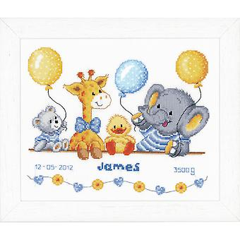 Vervaco Counted Cross Stitch Kit: Birth Record: Animal Cheer