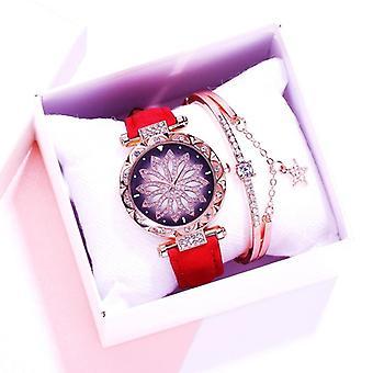 Women Watches, Bracelet Set, Starry Sky, Ladies Watch, Casual Leather Quartz,