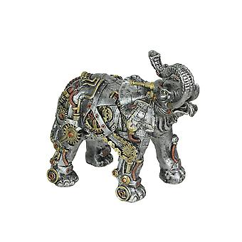 Metallic Silver Copper and Gold Gothic Steampunk Elephant Statue