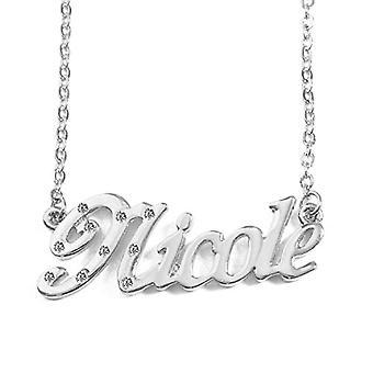 KL Nicole - Naisten kaulakoru nimi, päällystetty 18 karat valkoinen kulta, muokattavissa