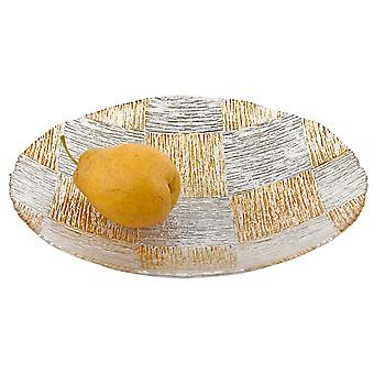 """Silver and  Gold Cubes Hand Decorated Glass 12"""" Bowl"""