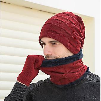 Yksikokoinen punainen gemdeck 3 kpl neulottua hattukarkkia ja käsinesarjaa x6711