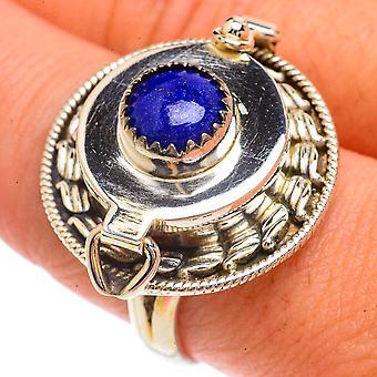 Large Lapis Lazuli Poison Ring Size 10 (925 Sterling Silver)  - Handmade Boho Vintage Jewelry RING66406
