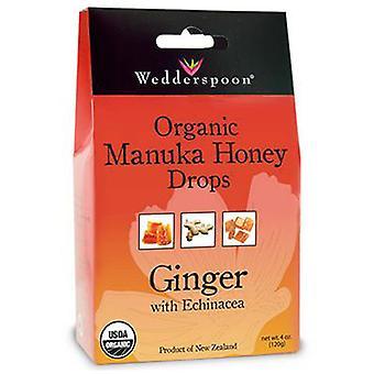 Wedderspoon Organic Manuka Honey Drops Ginger with Echinacea, 4 Oz