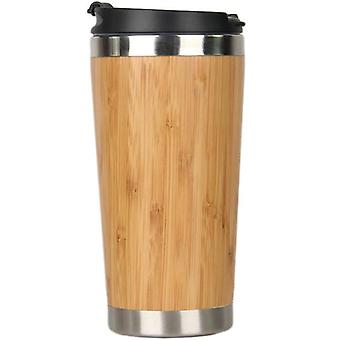 450Ml Bamboo Coffee Cup Stainless Steel Coffee Travel Mug With Leak Proof(yellow)