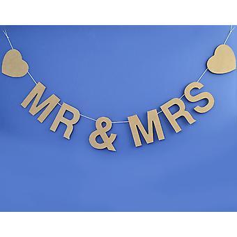 LAST FEW - Mr & Mrs MDF Garland Natural Wood Wedding Bunting