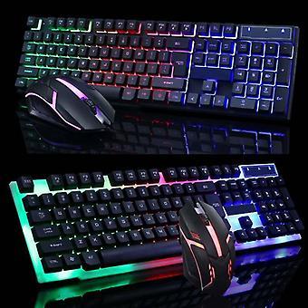 (Black) Colourful Computer Gaming Keyboard & Key Mouse Set USB LED Lighting USB Adapter