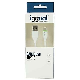USB A naar USB C Kabel iggual IGG316948 1 m Wit