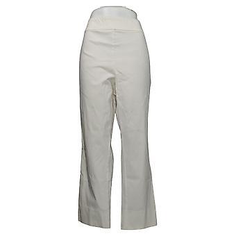 MarlaWynne Women's Plus Pants Twill FLATTERfit With Slit Ivory 646478