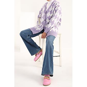 Argyle Knitwear Button Front Cardigan