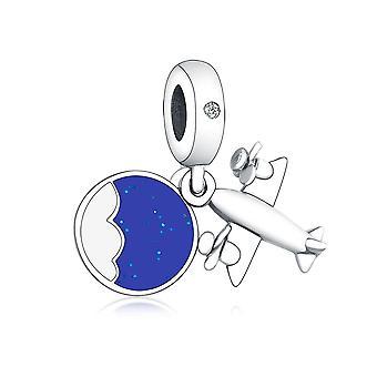 925 Sterling Ezüst Propeller Plane CharmsBracelet zománc Dangle gyöngyök készítéséhez DIY | Varázsa