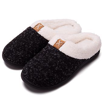 Homemiyn Comfort Zapatillas de espuma viscoelástica Zapatos de casa forrados de felpar Interior, exterior Suela de goma antidesliz