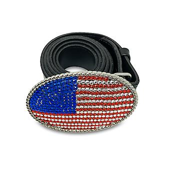 Hairdresser faux leather belt with glitter round USA flag 110cm length - Unixsex belt in round USA flag