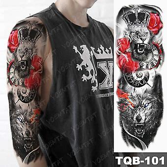 Großer Arm Ärmel Tattoo Gun Rose Löwe Wasserdicht Temporäre Tatto Sticker Uhr Blume Taille Bein Körper Kunst Full Fake Tatoo Frauen