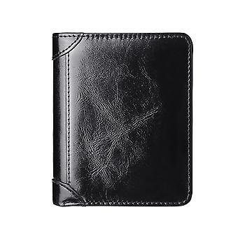 RFID Блокировка Кожаный кошелек для мужчин Монета Карман Id Окно Винтаж Бизнес Держатель кредитной карты