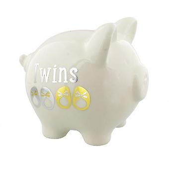 Twins White, Gold & Silver Piggy Bank by Widdop & Co