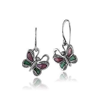 925 Sterling Silber Schmetterling Markasit Ohrringe mit grünen & violett Emaille