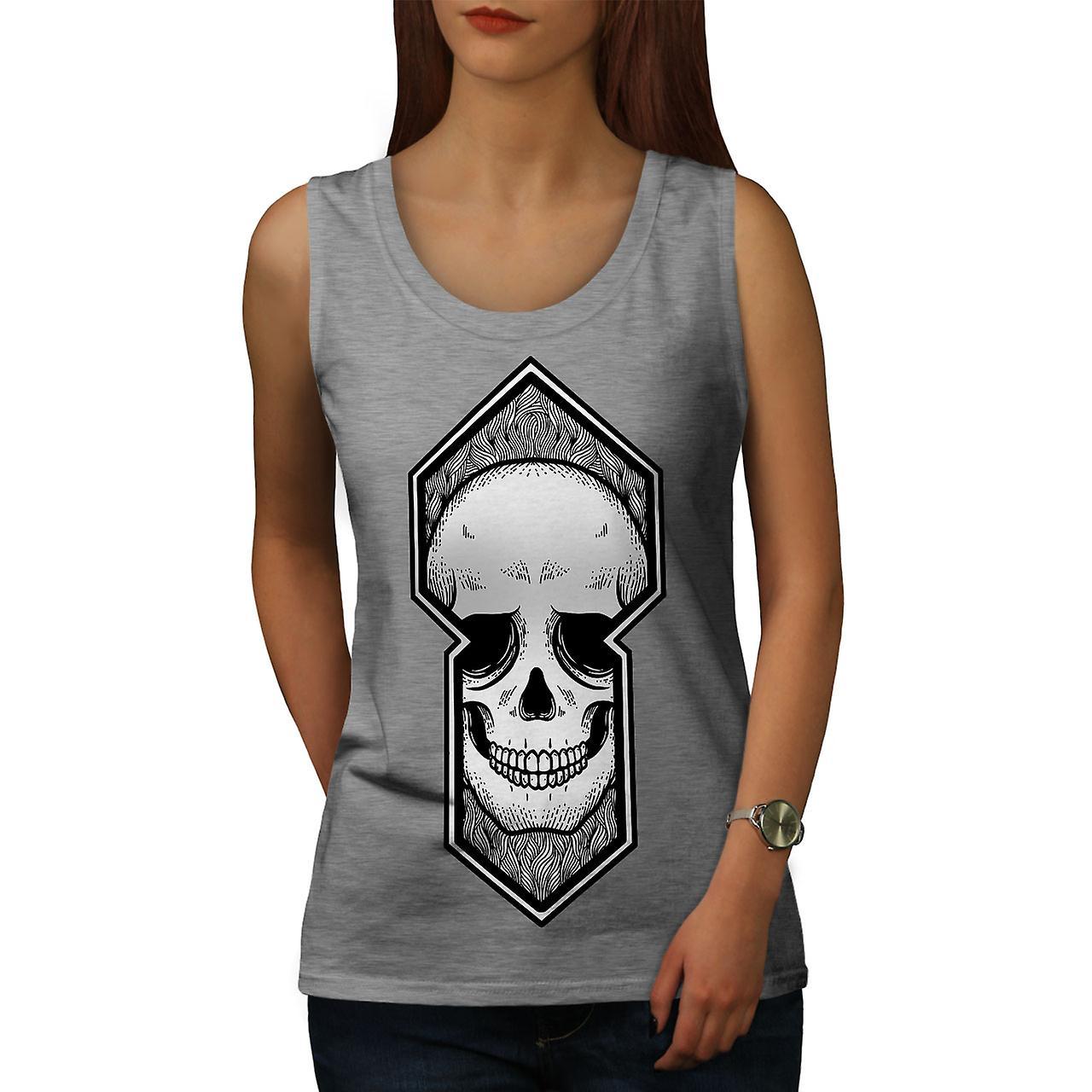 Crâne mort femmes GreyTank Top | Wellcoda