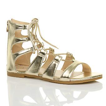 Ajvani Womens flache schnüren überqueren Sie die Wrap-around-Riemchen-Sandalen Schuh