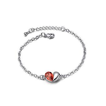 Orange Liebe Herz unter dem Motto Kristallsilber Schmuck Armband BG1408