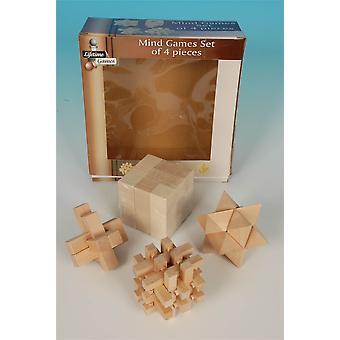 Dagegen Sie, Spiele-Satz von 4 Stück aus Holz Kinder & Erwachsene Spielzeug hergestellt