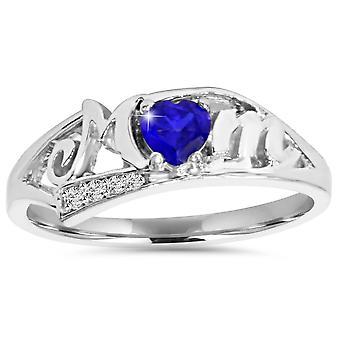 5 / 8ct blå hjertet Sapphire & Diamond mor Ring 10K hvide guld
