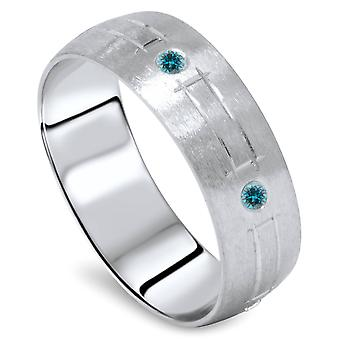 Blue Diamond Swiss Cut Mens Ring 14K White Gold