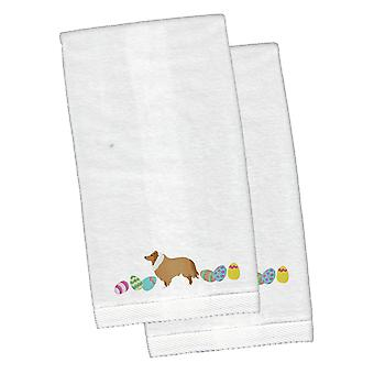Collie Easter White Embroidered Plush Hand Towel Set of 2