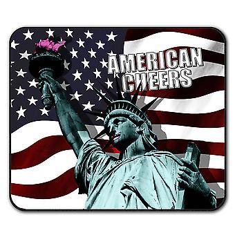 Okrzyki amerykańska flaga antypoślizgowa podkładka pod mysz podkładka 24 cm x 20 cm | Wellcoda