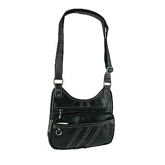 Parinda Gianna Black Pebble Grain Faux Leather Crossbody Bag