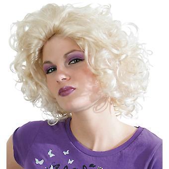 La Donna Perücke Locken Superstar. Weißblond